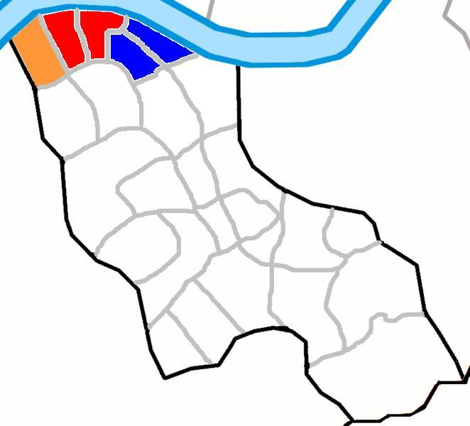 Orange : Sinsa-dong Red : Apgujeong-dong Blue : Cheongdam-dong