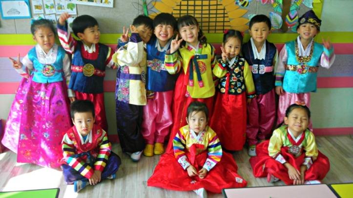 Korean Children wearing Hanbok