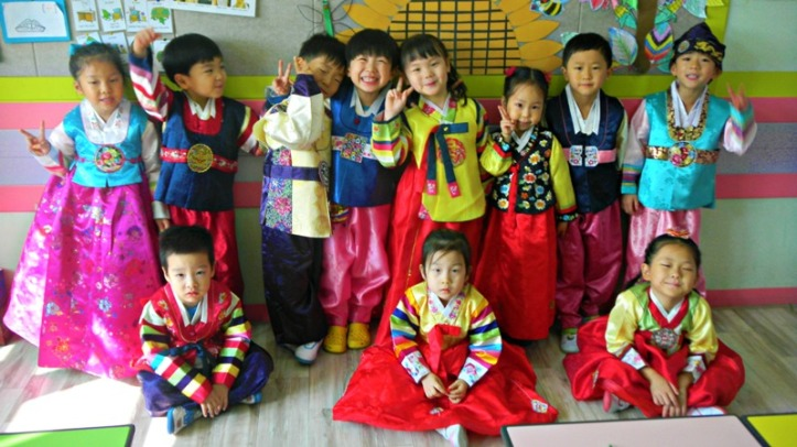 Korean Children wearing Hanbok