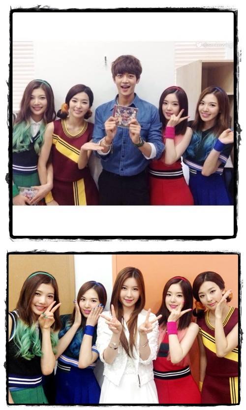 Red Velvet with Minho SHINee & J-Min (photo source : Red Velvet Official Fanpage)