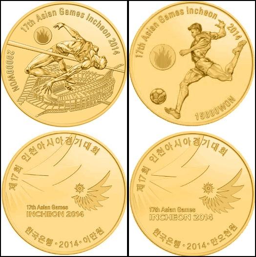 Koin emas (gold) yang diedarkan sebanyak 8.000koin terdiri dari nominal 20.000 won (3.000 koin) dan 15.000 won (5.000 koin) photo credit to : http://www.coin-database.com