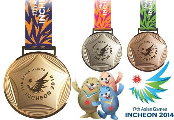 Medali untuk pemenang yang bergambar lambang resmi Asian Games ke-17