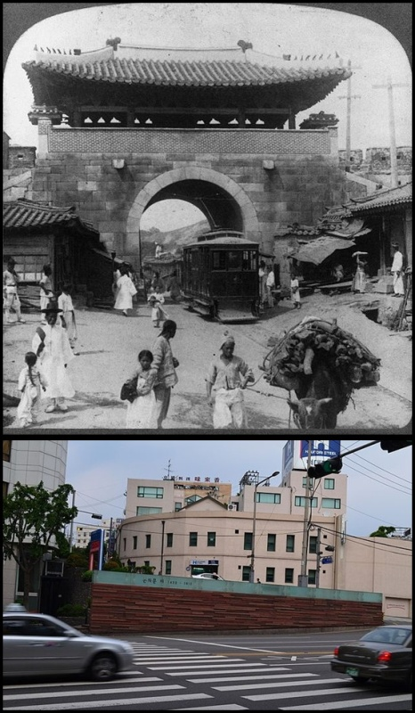 Gambar atas adalah Donuimun Gate, Seoul yang diambil gambarnya oleh Horace Grant Underwood di tahun 1904. Gambar bawah adalah Donuimun gate Memorial, Seoul  (photo source credit to : Wikipedia)