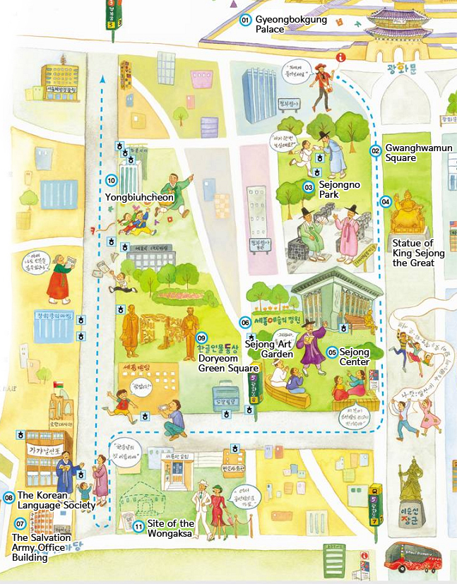 Hangul Gaon-gil map (photo source credit to : VisitSeoul)