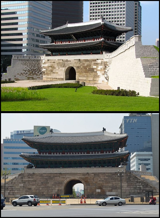Sungnyemun/Namdaemun gate, Seoul from front & back (photo source credit to : Wikipedia)
