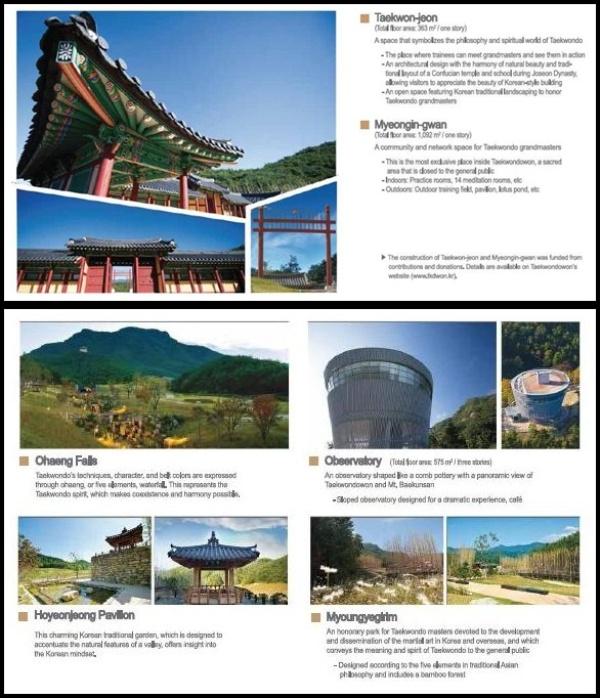 Sejumlah tempat menarik di area Taekwondowon