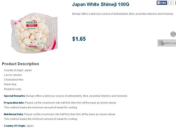 Jamur Jepang yang menggiurkan (screenpic from : http://www.fairprice.com.sg)